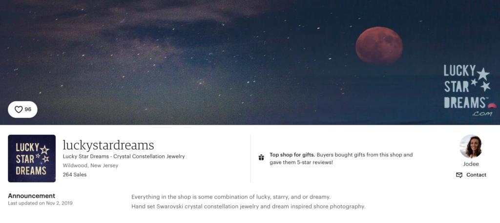 Lucky Star Dreams Etsy shop 5 star reviews screen shot