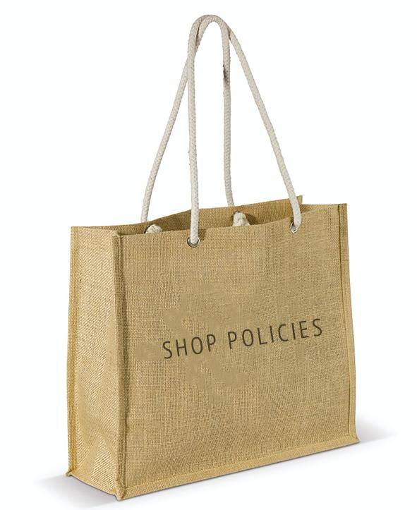 Shop Policies shopping bag graphic